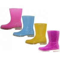 "RB-68 Wholesale Youth's ""EasyUSA""  Water Proof With Glitter Soft Rubber Rain Boots (*Pink Glitter, Blue Glitter, Purple Glitter & Yellow ) *All With Glittering"