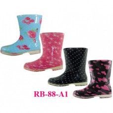 RB-88-A1 Wholesale EasyUSA Youth's Printed Rubber Rain Boots ( Asst. 4 Print )