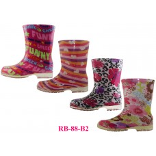 RB-88-B2 Wholesale EasyUSA Youth's Printed Rubber Rain Boots ( Asst. 4 Print )
