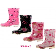 RB-88-C3 Wholesale EasyUSA Youth's Printed Rubber rain Boots ( Asst. 4 Print )