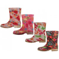 RB-89 Wholesale EasyUSA Youth Water Proof Soft Rubbe Rain Boots ( *Pink Dalki, Pink Bubble, Butterfly & Black Multi Flower ) *All With Glittering