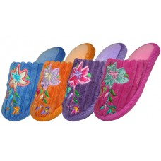 S1202-G - Wholesale Children's Velvet Floral House Slippers ( *Asst. Color ) *Last Case