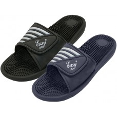 "S2090-B - Wholesale ""EasyUSA"" Boy's Velcro Shower Slide With Massage In Sole Sandal (*Asst. Black And Navy )"