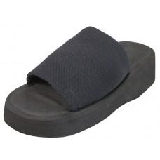 S2553-G - Wholesale Girls' Platform Elastic Slide Sandals ( *Black Color ) Closeouts $1.00/Pr. Case $24.00 *Last 6 Case