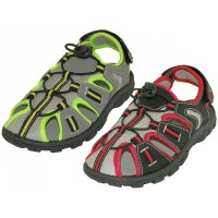 S2600-Y - Wholesale Youth's Hiker Sport Sandals ( *Asst. Black/Red & Grey/Green)