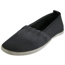S305G-BK - Wholesale Girls' Elastic Upper Slip On Canvas Shoes ( *Black Color )