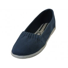 S305G-Navy - Wholesale Girls' Elastic Upper Slip On Canvas Shoes ( *Navy Color ) *Last 3 Case