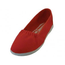 S305G-Red - Wholesale Girls' Elastic Upper Slip On Canvas Shoes ( *Red Color ) *Last 3 Case