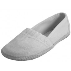 S305G-W Wholesale Girl's Elastic Upper Slip On Canvas  Shoe ( *White Color )