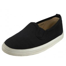 S316B-BK- Wholesale Boy's Slip On Twin Gore Upper Casual Canvas Shoes ( *Black Color ) *Last 5 Case