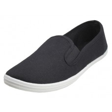 S316G-BK Wholesale Children's Slip On Twin Gore Upper Casual Canvas Shoes *Black Upper With White Sole ( *Black Color )