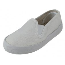 "S316-I-W Wholesale Child's ""EasyUSA"" Two Gore Slip On Canvas Shoes ( *White Color ) *Last Case"