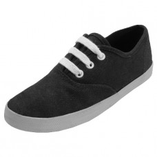 S324G-BK- Wholesale Youth's Lace Up Casual Canvas Shoes ( *Black Color )