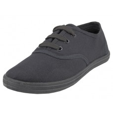 S324G-BB Wholesale Youth's Lace Up Casual Canvas Shoes ( *All Black Color )