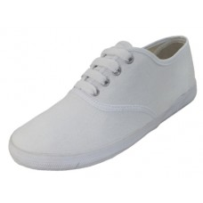 S324G-W Wholesale Youth's Lace Up Casual Canvas Shoes ( *White Color )