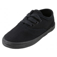 S324-I-BB Wholesale Children's Lace Up Casual Canvas Shoes ( *All Black Color )