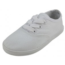 S324-I-W Wholesale Children's Lace Up Casual Canvas Shoes ( * White Color )
