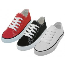 S327C-A Wholesale Youth's Comfortable Cotton Canvas Lace Up Shoes ( *Asst. White, Black & Red )