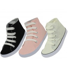 S328C-A - Wholesale Youth's Lace Up High Top Canvas Shoes ( *Asst. Black White And Pink )