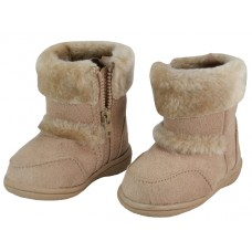 S4430G-Beige Wholesale Youth's Winter Boots With Faux Fur Lining And Side Zipper ( *Beige Color )