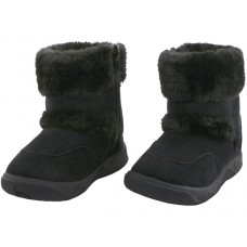 S4430G-BB - Wholesale Youth's Winter Boots With Faux Fur Lining and Side Zipper ( *Black Color )