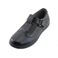 S5002-G - Wholesale Big Girl's T-Velcro With Buckle Upper Black School shoe ( *Black Color )