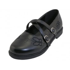 S5009-G - Wholesale Big Girls X-Strip Top Black School Shoe ( *Black Color )