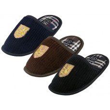 "S599B-P - EasyUSA Boy's ""EasyUSA"" Cotton Corduroy Embroidery Upper House Slippers. ( *Asst. Black Brown & Navy )"