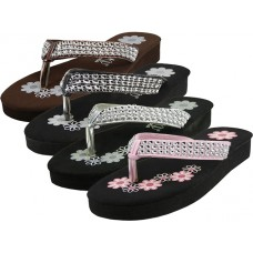 S720G- Wholesale eASYusa Girl's Flower Print With Rhinestone Look Flip Flops ( *Asst. Black Silver Bronw & Pink )
