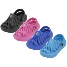S8820-I-A Wholesale Infant's Soft Hollow Upper Sport Clogs ( Asst. Black. Royal. Hot Pink & Turquoise )