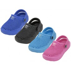 S8820-Y Wholesale Youth's Soft Hollow Upper Sport Clogs ( Asst. Black. Royal. Hot Pink & Turquoise )
