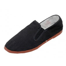 T2-111-B - Wholesale Boy's Slip On Twin Gore Cotton Upper With Rubber Out Sole Kung Fu Shoes ( *Black Color ) *Available In Single Size