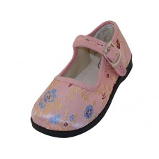 T2-113C-P - Wholesale Girls' Satin Brocade Plum Flower Upper Mary Janes Shoe ( *Pink Color )
