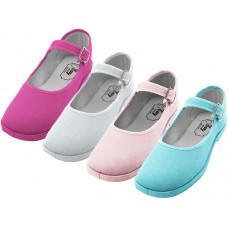 "T2-115G-A Wholesale Girl's ""EasyUSA"" Cotton Upper Mary Janes Shoe ( *Asst. Fuchsia, White, Pink & Blue )"
