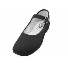 "T2-115G-B Wholesale Girl's ""EasyUSA"" Cotton Upper Mary Janes Canvas Shoe ( *Black Color )"