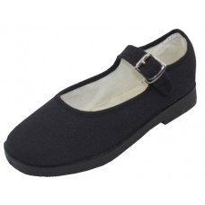 T2-115G-B Wholesale Girl's Cotton Upper Mary Janes Canvas Shoe ( *Black Color )