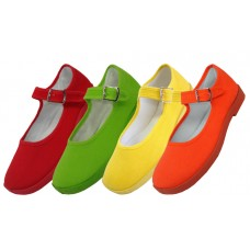 T2-115G-C - Wholesale Girls' Cotton Upper Mary Janes Shoe ( *Asst. Green, Yellow, Red & Orange )