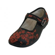 T2-113G-B - Wholesale Youth's Satin Brocade Plum Flower Upper Mary Janes Shoe ( *Black Color )