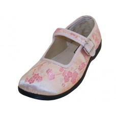 "T2-113G-P Wholesale Youth's ""EasyUSA"" Satin Brocade Plum Flower Upper Mary Jane Shoes ( *Pink Color )"
