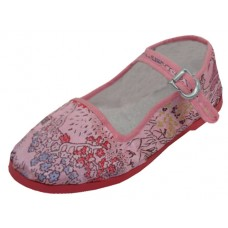 T2-119C-PP Wholesale Miss Satin Brocade Upper Mary Janes Shoe ( *Pink Color )