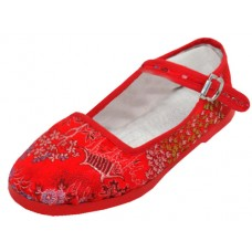 T2-119C-R Wholesale Miss Satin Brocade Upper Mary Janes Shoe ( *Red  Color )