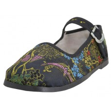 T2-119-I-B Wholesale Child's Satin Brocade Upper Classic Mary Jane Shoes ( * Black Color )