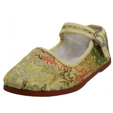 T2-119-I-G Wholesale Child's Satin brocade Upper Classic Mary Jane Shoes ( *Gold Color )