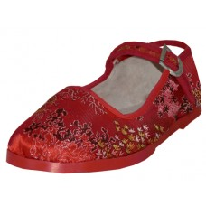 T2-119-I-R Wholesale Child's Satin Brocade Upper Mary Janes Shoe ( *Red Color )