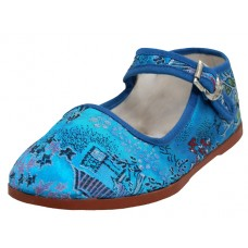 T2-119-I-Q Wholesale Child's Satin Brocade Upper Mary Janes Shoe  ( *Turquoise Color )
