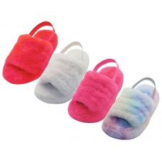"Z1001C-A Wholesale Children's ""EasyUSA""  Soft Fuzzy Plush Upper With Elastic Sling Back House Slippers  ( Asst. Hot Pink. Beige. Red And Rainbow Print )"