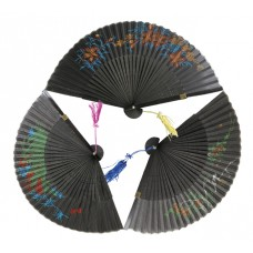 "G412-B - Wholesale 9"" Silk Fan ( *Black Only )"