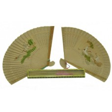 "G420-F - Wholesale 9"" Printed Sandalwood Fan"
