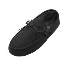 M080004-B Wholesale Men's Leather Upper Moccasin Insulated House Slippers ( *Black Color )