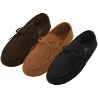 M080004-A - Wholesale Men's Leather Moccasins Insulated Shoes ( *Asst. Black Beige & Brown )
